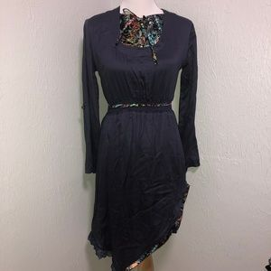 Navy Blue Silky Lace and Floral Detailed Dress